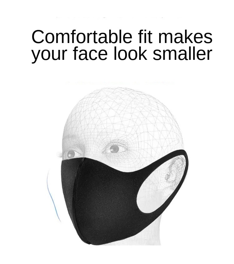 Adult-Dustproof-Windproof-Anti-Haze-Pollution-Dust-Mask-Washable-Reusable-Black-Mouth-Mask-Care-100-Pc