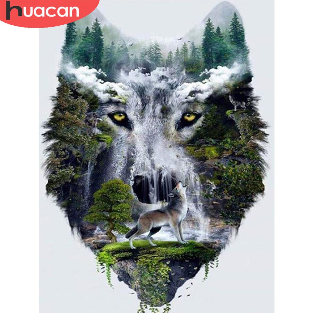 5D Full Drill Diamond Painting Waterfall Wolf Cross Stitch Kits Art Wall Decors
