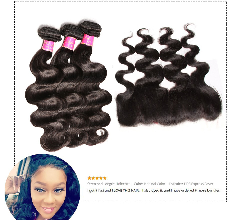 Ali Julia Hair 100% Brazilian Body Wave Human Hair 3 Bundles With Frontal Closure 134 Pre Plucked Lace Frontal Closure Remy (4)