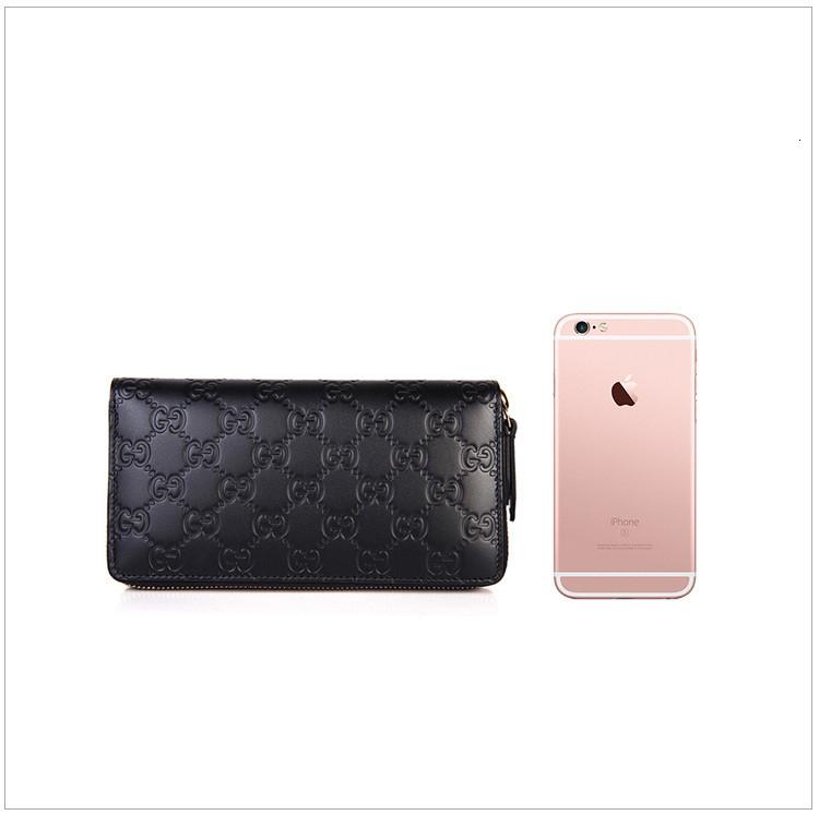 [Package tax]   ladies double G pattern cowhide black zipper wallet black