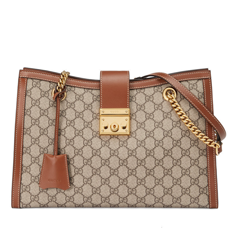 [Package tax]  /  Padlock medium lady canvas spell leather chain shoulder bag (2 colors optional)