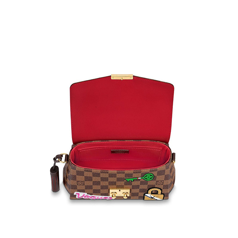 /  new limited edition CROISETTE brown plaid embroidery print with shoulder strap ladies shoulder bag N40055