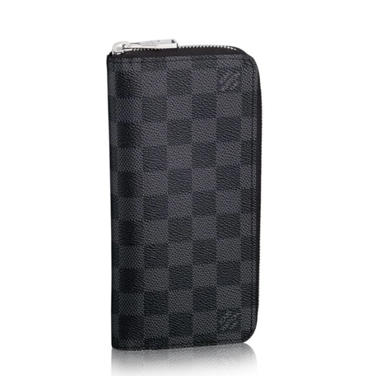 / Men's Black Grey Chessboard Chain Wallet N63095
