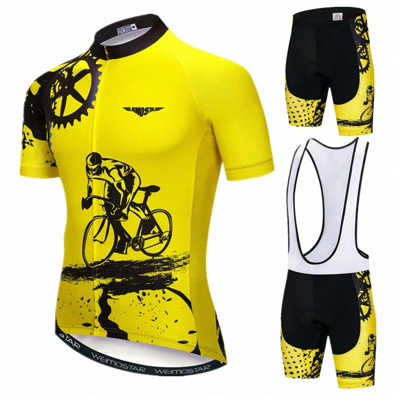 Weimostar Hombres ciclismo Jersey Team Bike triángulo Jersey Racing manga corta