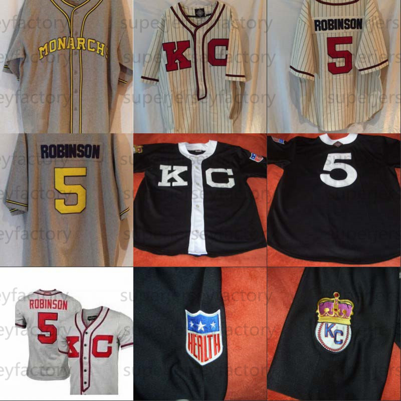 # 5 Jackie Robinson Kansas City Monarchs Negro League Jersey 100% Stitched Custom Baseball Jerseys Any Name Any Number Mens Women