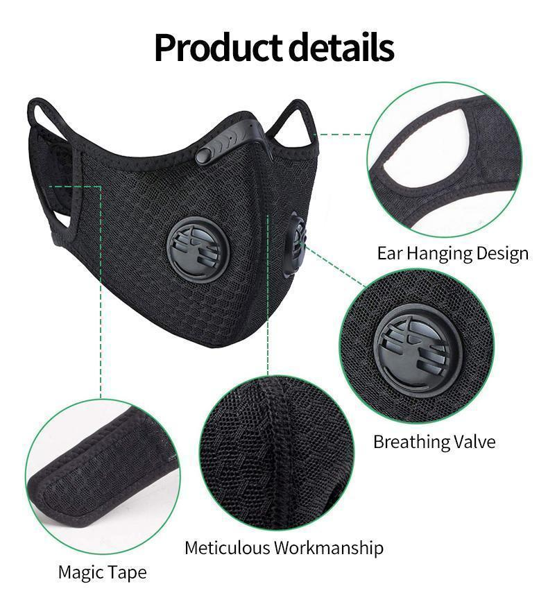 US Stock now Sport Face Mask PM2.5 Cycling Mask Anti-Dust Anti-Pollution Activated Carbon Filter Effect >95% MTB Bike Cycling Face