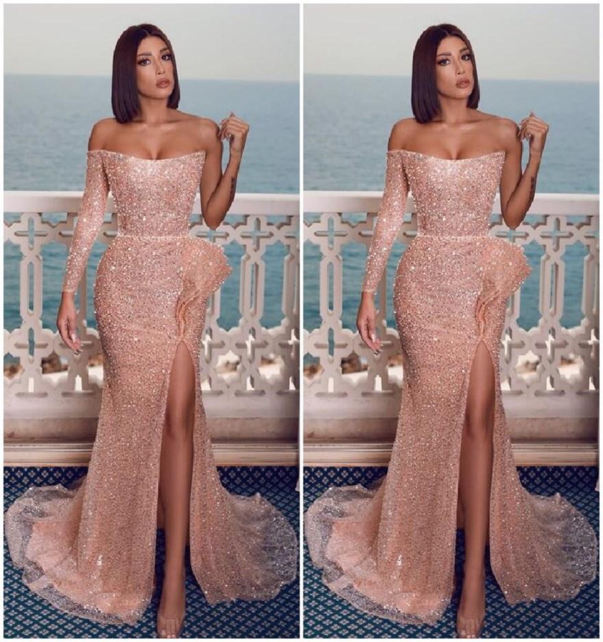 rose gold rosa lange abendkleider schlitz vorne mantel formale abendkleider  bateau-ausschnitt einzel langen Ärmeln mädchen-party einzigartige