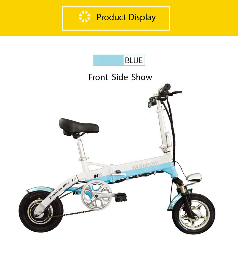 New Electric Bike 36V Two Wheels Electric Bicycle FrontRear Brake System WhiteBlueBlack Adult Folding Electric Scooter (18)