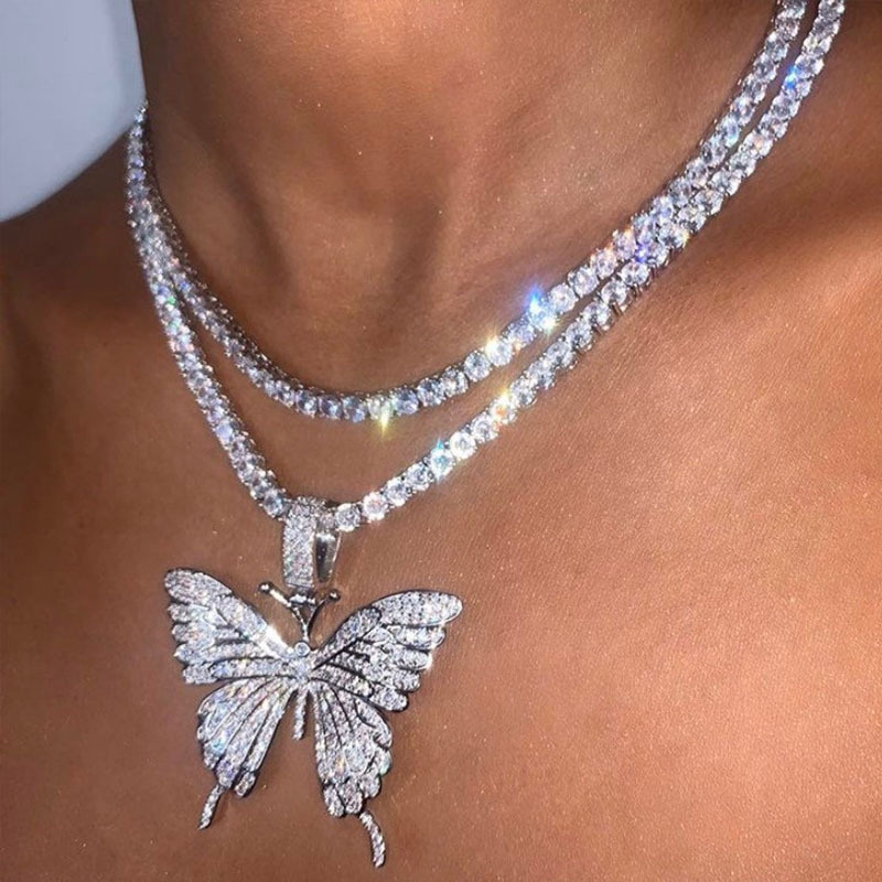 Fashion Style Hiphop Necklace Butterfly Pendant Necklace Full Crystal Diamond Women Iced Out Bling Butterfly Necklace Jewelry