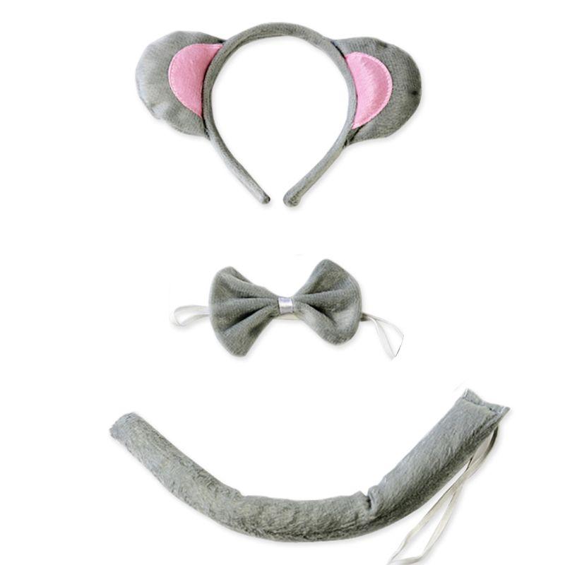 Cosplay Animal Ear Halloween Costume Headband Bowknot Tail
