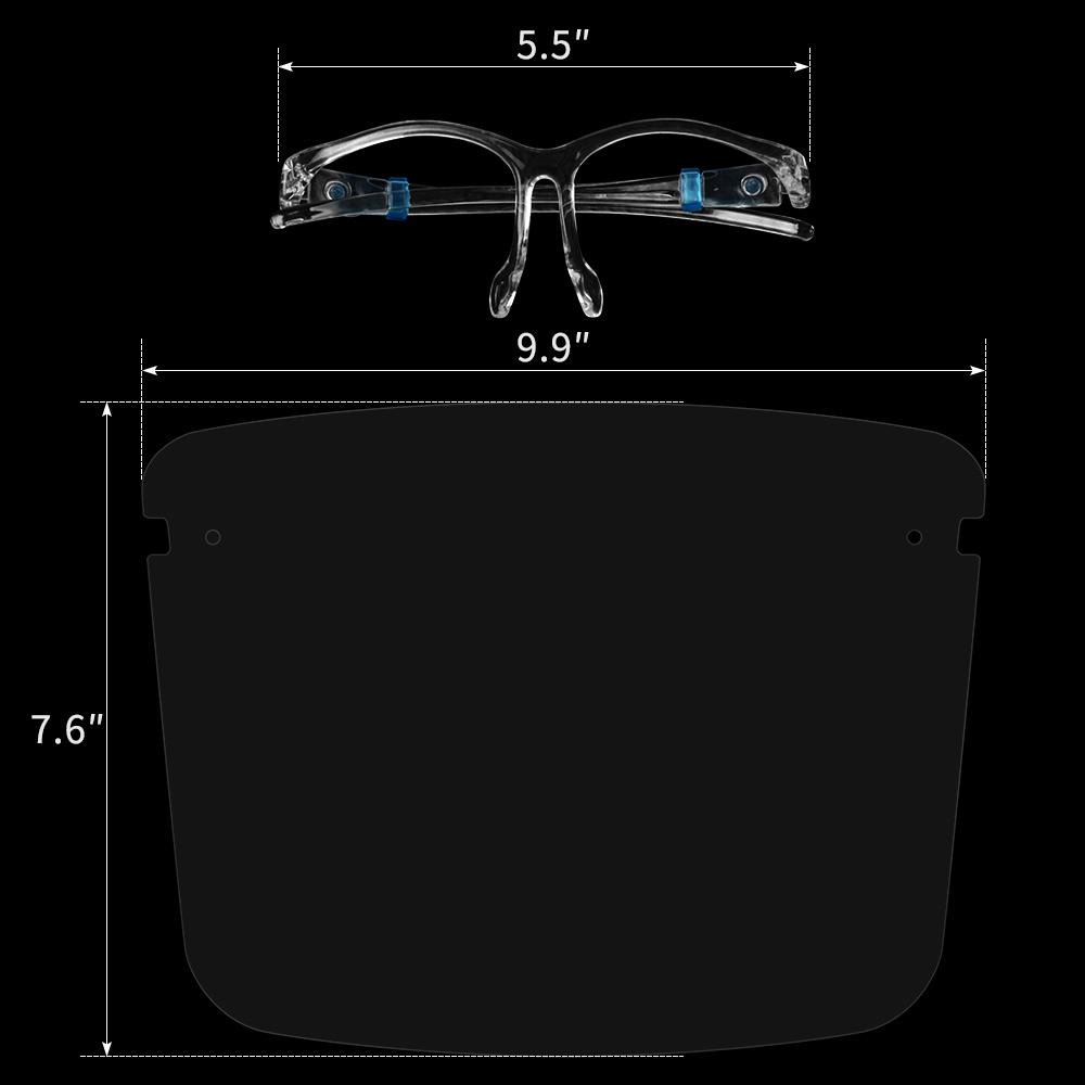 US Stock Protective Face Shield Fully Transparent Face and Eye Protection from Droplets and Saliva frame Reusable Glasses and Replaceable