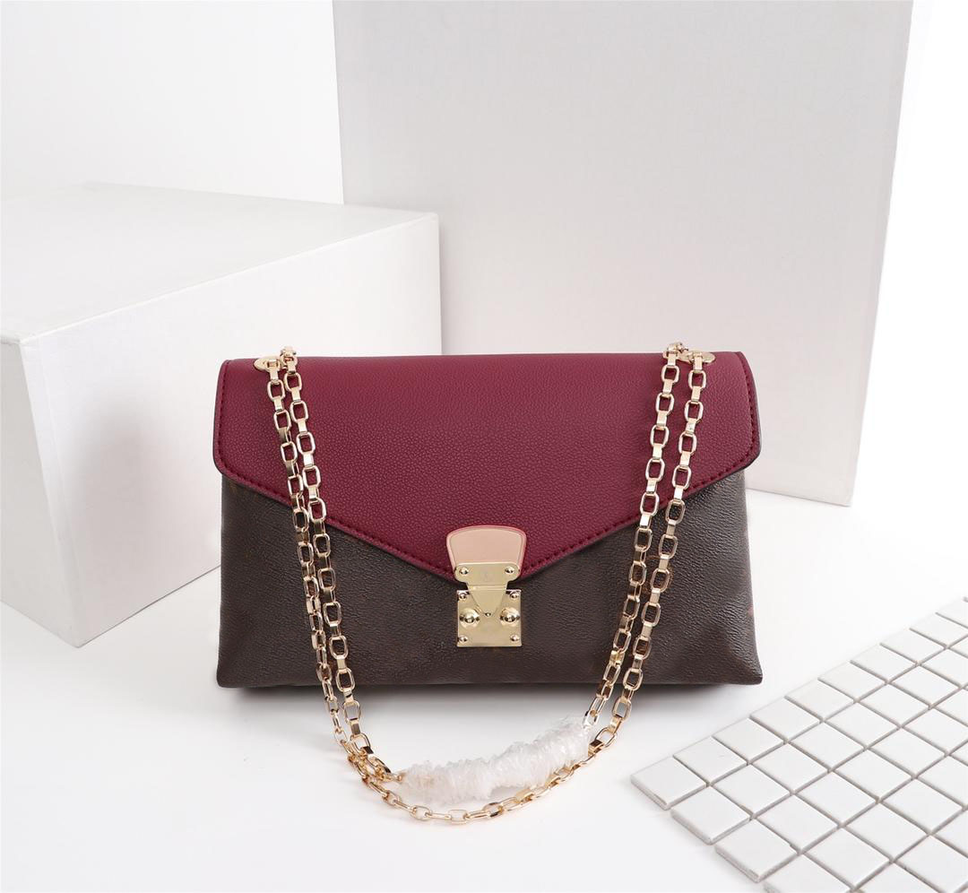 Classic L letter print stitching leather womens handbag fashion golden chain bag classic style never outdated