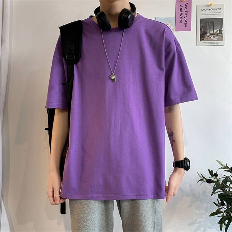 Plus Size Mens T-shirts Male Tops Tees Summer Tshirt Short Sleeve 100% Cotton Loose Fitted Oversize 4XL Plain Solid Man Clothing 09