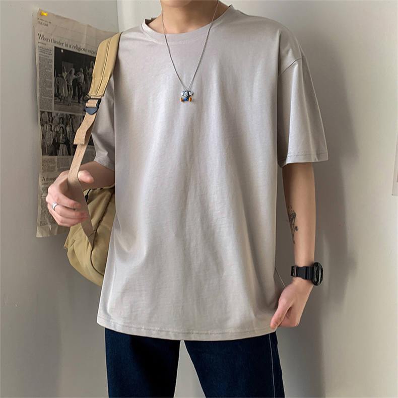 Plus Size Mens T-shirts Male Tops Tees Summer Tshirt Short Sleeve 100% Cotton Loose Fitted Oversize 4XL Plain Solid Man Clothing 05