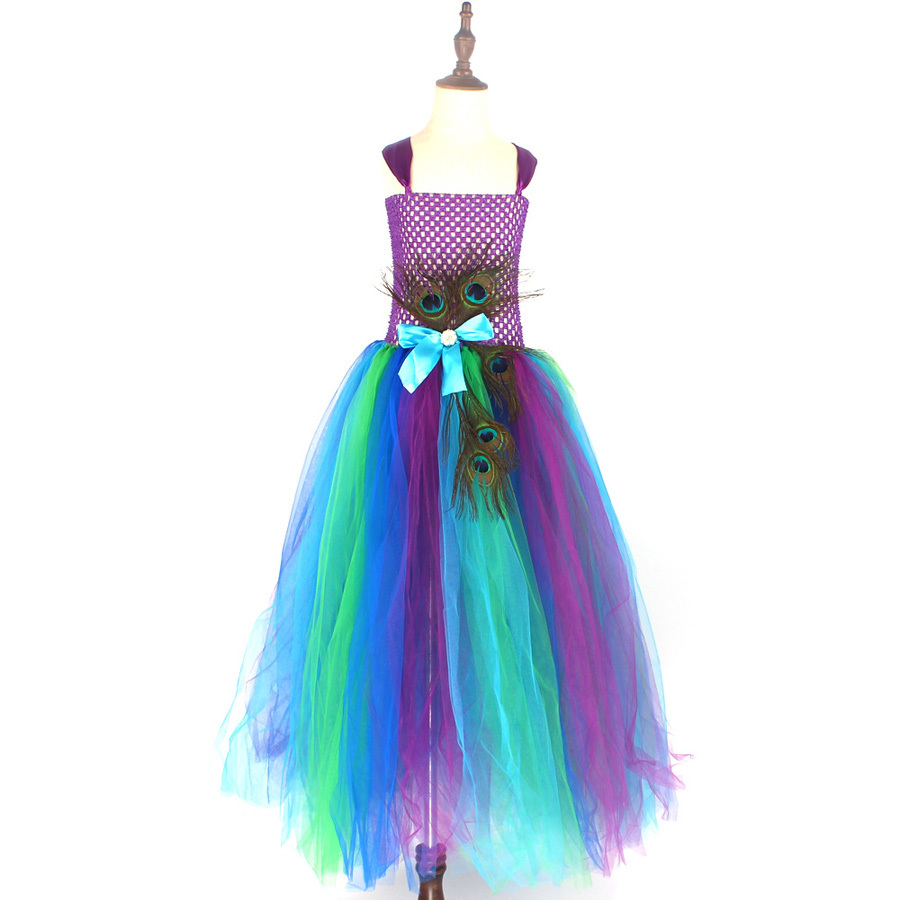 Flower Princess Peacock Costume for Girls Wedding Birthday Party Tutu Dress Kids Pageant Ball Gown Feathers Girl Tulle Dresses (4)