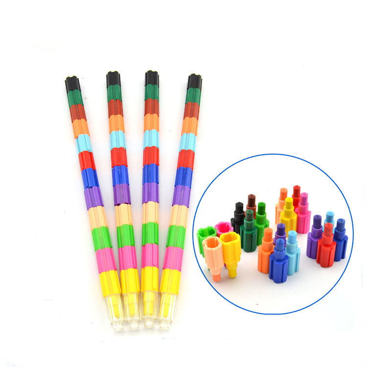 50 Pieces 6 Colors Stacking Crayons Buildable Crayons Colorful Block Crayon for Preschool Art Toys Home School Office Supplies