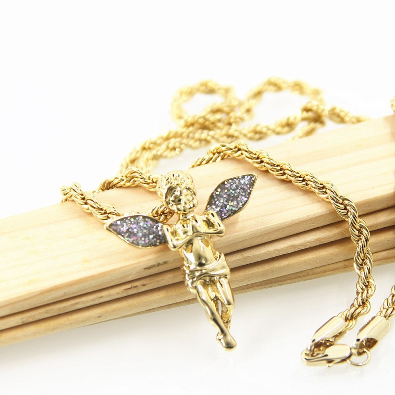 Women Angel Wings Rhinestone Crystal Pendants Necklace 18K Gold Plated Sweater Chain Jewelry 24 Inch Long Free DHL D872L