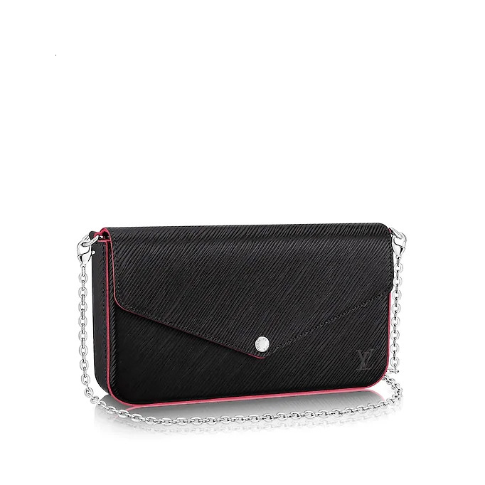/  POCHETTE FÉLICIE black with glitter striped detachable chain three-in-one ladies Messenger bag M64579