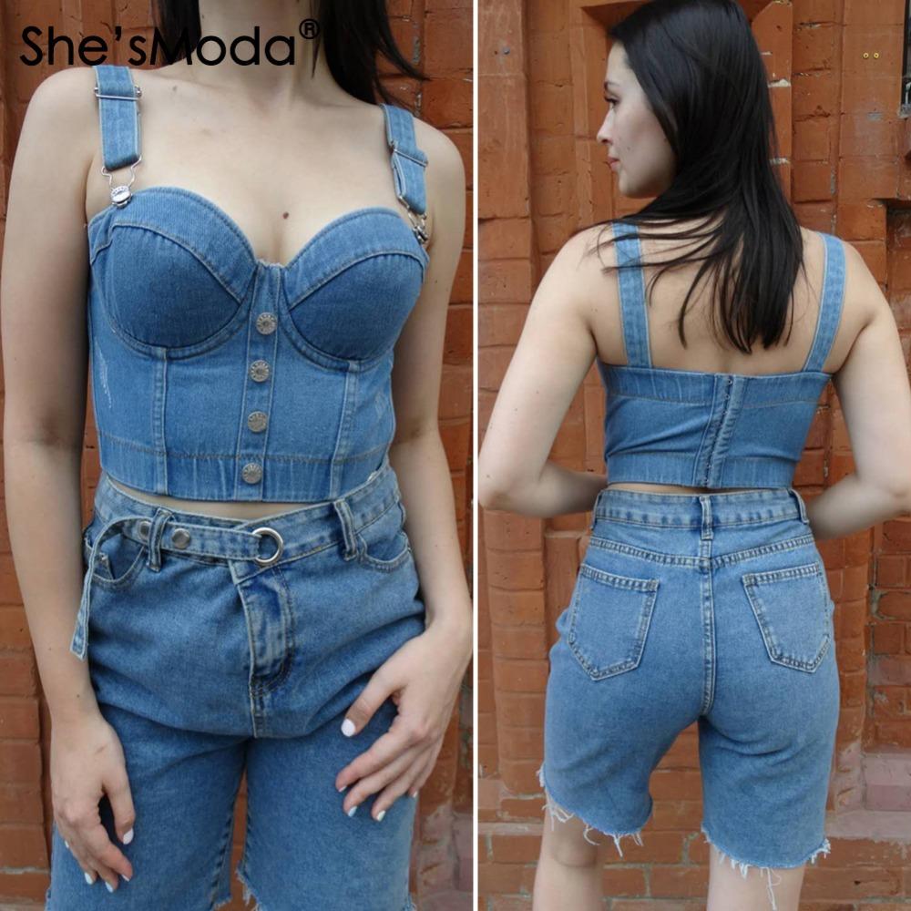 china wholesale jean crop top vest