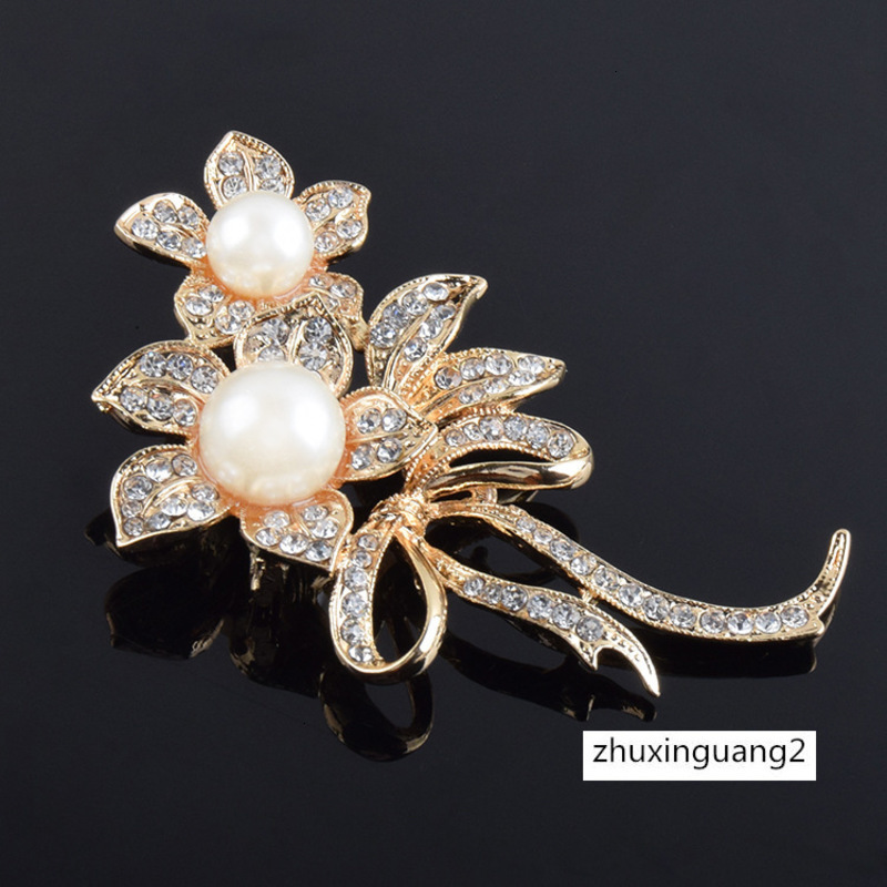 Pearl Leafy Brooch Broach Pin Large Vintage Alloy Rhinestone Diamante Wedding UK