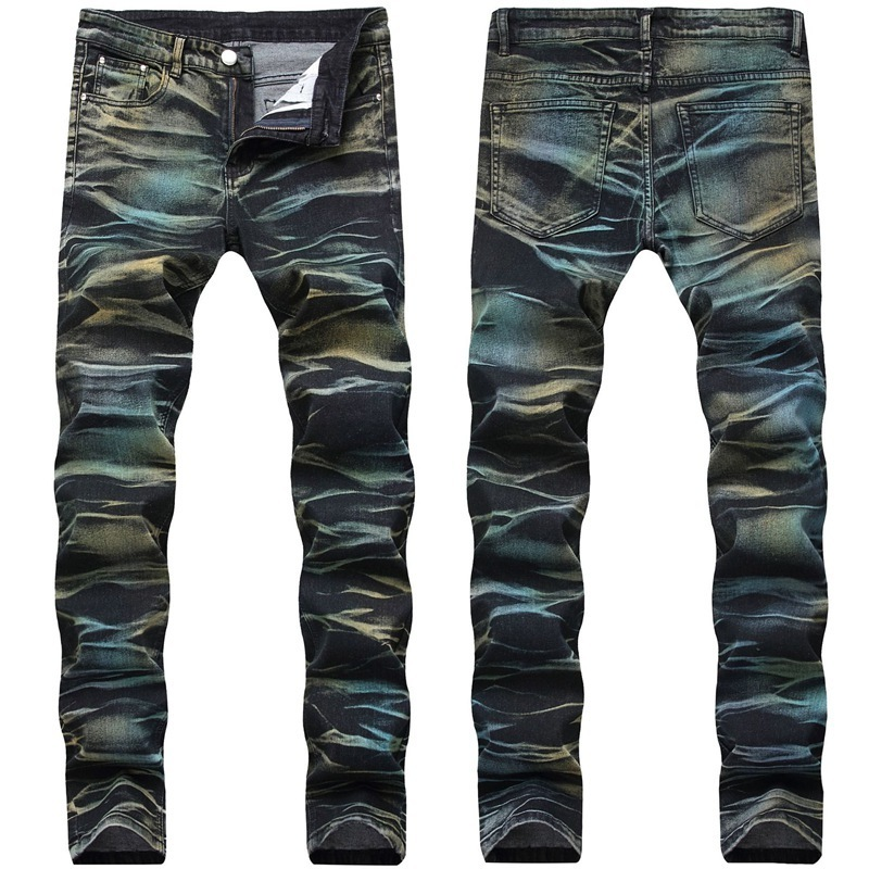 Men Distressed Ripped Skinny Jeans Fashion Mens Jeans Slim Motorcycle Moto Biker Causal Mens Denim Pants Hip Hop Men Jeans T12M