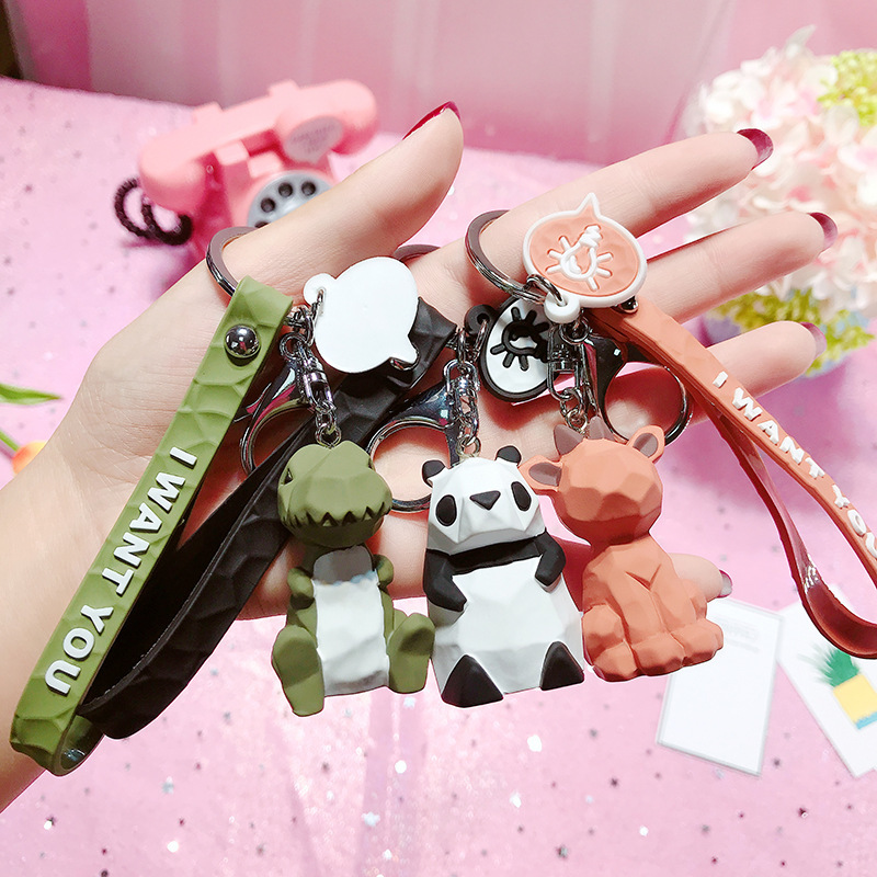 2019 New Fashion Cute Dinosaur Keychain Key Ring Fashion Cartoon PU Key Chain Creative Car Bag Phone Key Ring (16)