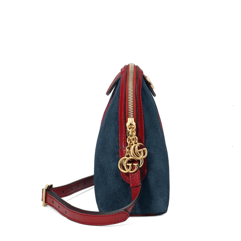 [Package tax]  /  new Ophidia Ms. small blue suede spell red leather one shoulder shell bag