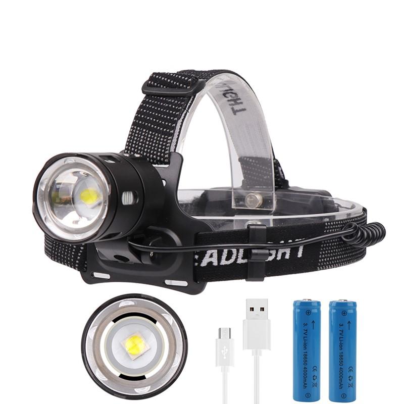 Drop Shipping rechargeable Zoom DEL projecteur de pêche phare Torche de chasse Hea
