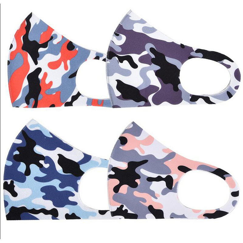 Camouflage Face Mask Camo Mouth Cover Anti-bacterial PM2.5 Respirator Dustproof Washable Reusable Silk Cotton Masks Black Packaging DHL
