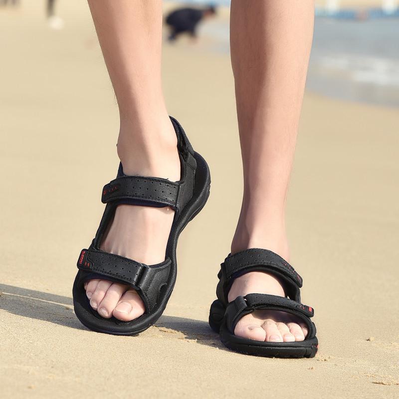 Cuero Real de los Hombres de la Correa Superior de la Cruz Pescadores Sandalias del Dedo del pie Cerrado Zapatos para Caminar de Verano