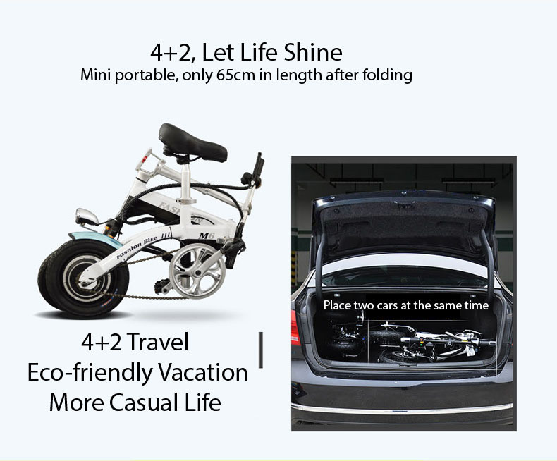 New Electric Bike 36V Two Wheels Electric Bicycle FrontRear Brake System WhiteBlueBlack Adult Folding Electric Scooter (6)