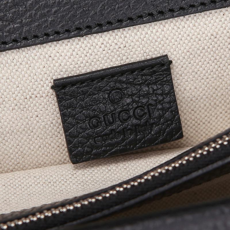 / Lady Black Cow Leather Medium Bacchus Shoulder Bag 400249 T