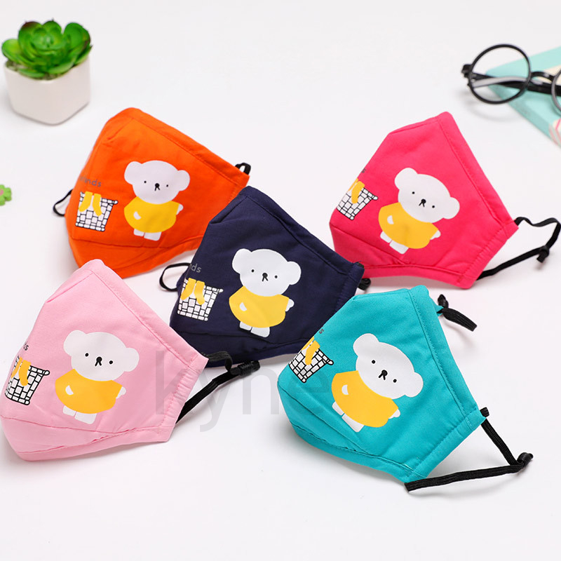 DHL Kids Cute Cartoon Cotton Cloth PM2.5 Washable Anti-Haze Face Mask Anti-dust Mask Colorful Non-Woven Fabric Children Cloth Masks