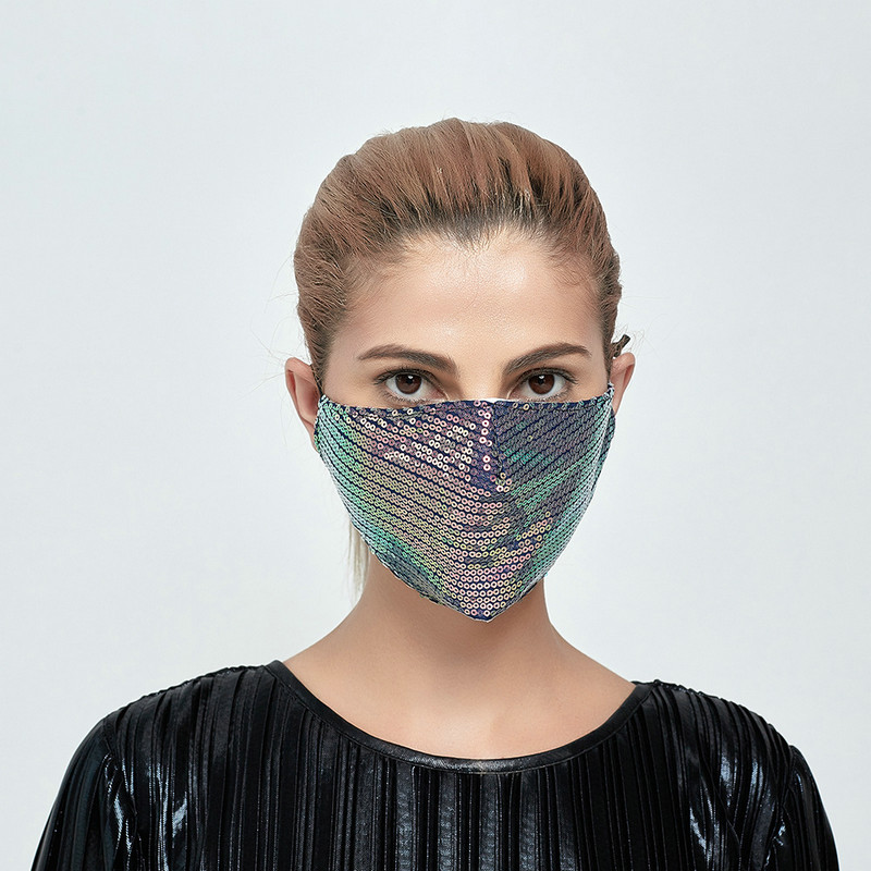 new Sequin Face Mask Earloop Protective Masks Summer Sunscreen Mask Anti Dust Mouth Cover Fashion Glitter Designer Mask