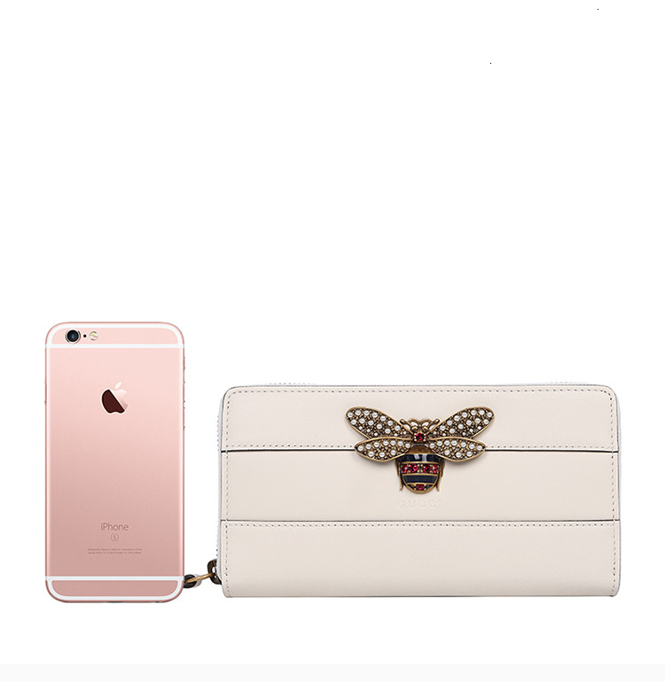 [Package tax]  /  Queen Margaret series ladies leather diamonds bee decorative fashion wallet purse