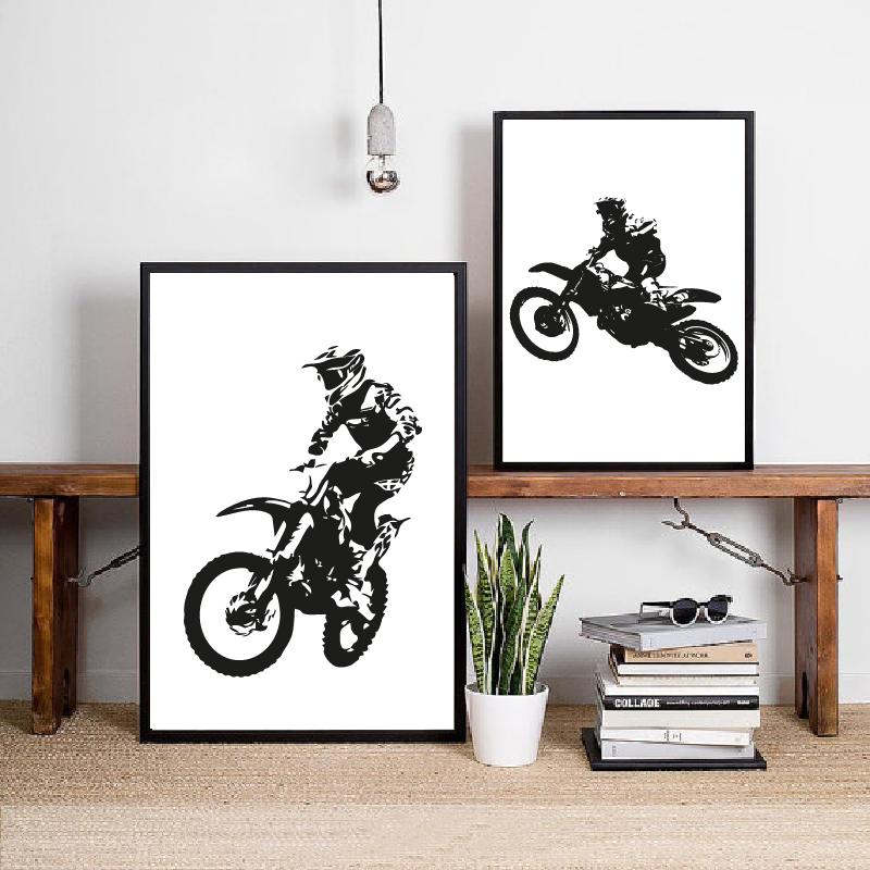 Motocross Rider Prints Boys Room Decoration