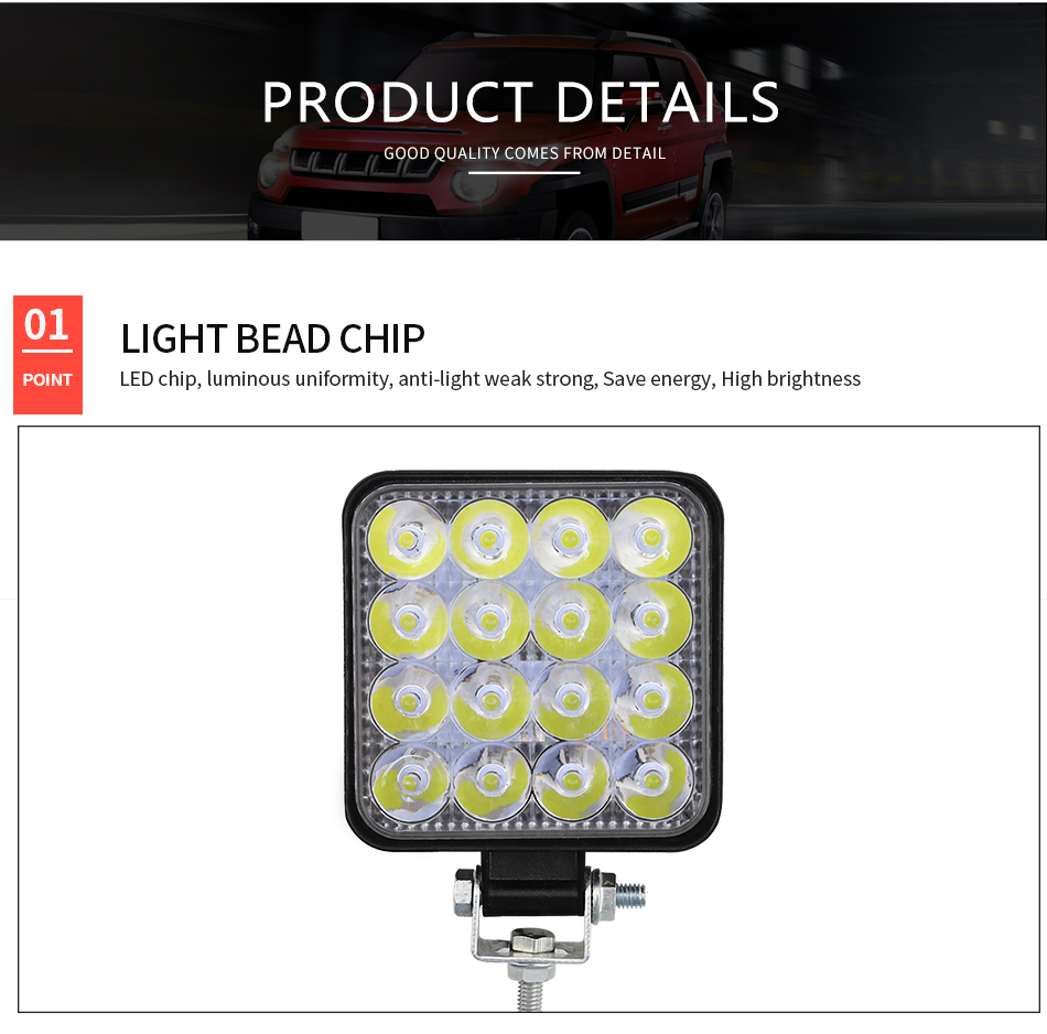 DXZ 3Inch Square 48W 16LED 6000K 4800LM Square Waterproof LED Work Light for Off-Road Suv Boat 4X4 Jeep JK 4Wd Truck