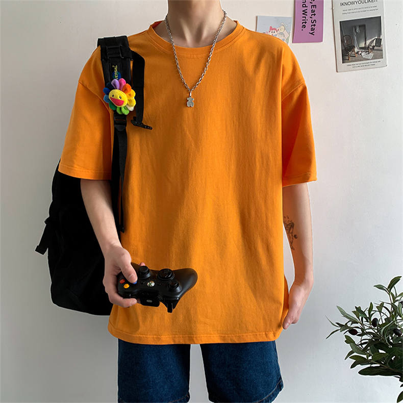 Plus Size Mens T-shirts Male Tops Tees Summer Tshirt Short Sleeve 100% Cotton Loose Fitted Oversize 4XL Plain Solid Man Clothing 01