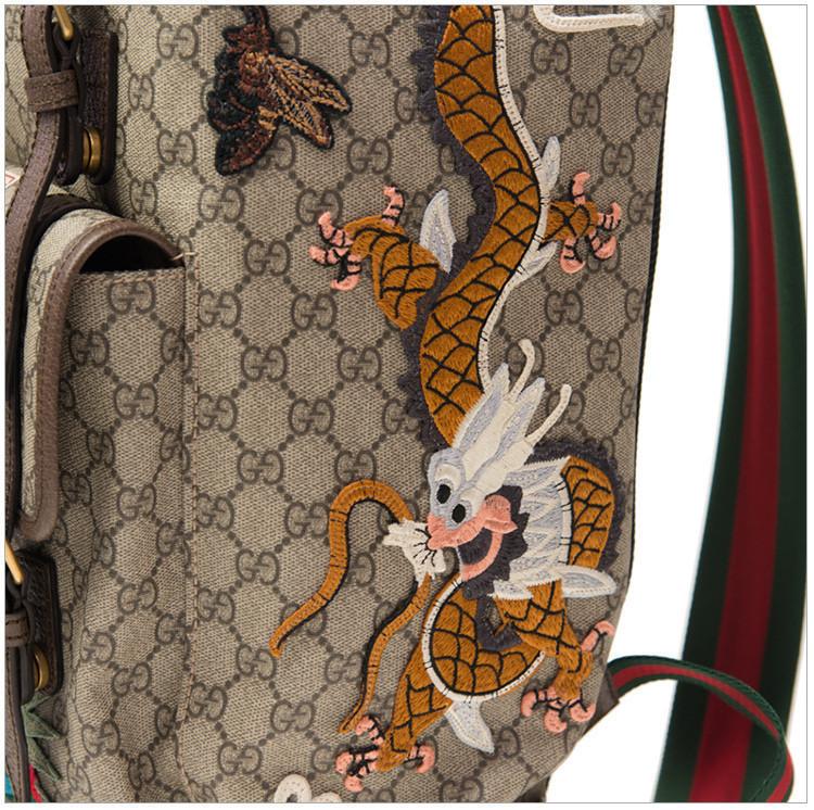 / Night Courrier Men's PVC Beige/Ebony Soft Canvas GG Print Dragon Pattern Fashion Backpack