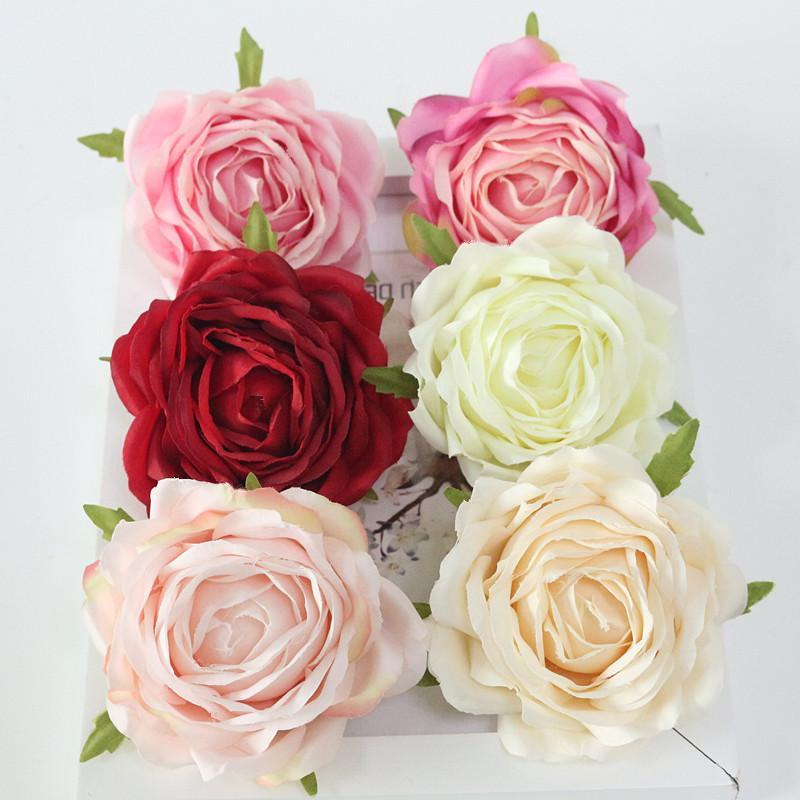 Flone High Quality Artificial Flower Head Retro Rose Head Silk Flower Wedding Christmas Party Decor Flores (11)