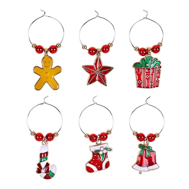 Christmas Cup Decoration Rings Wine Glass Pendants For ...