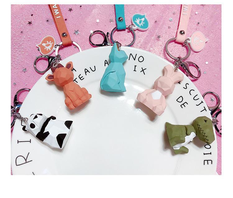 2019 New Fashion Cute Dinosaur Keychain Key Ring Fashion Cartoon PU Key Chain Creative Car Bag Phone Key Ring (1)