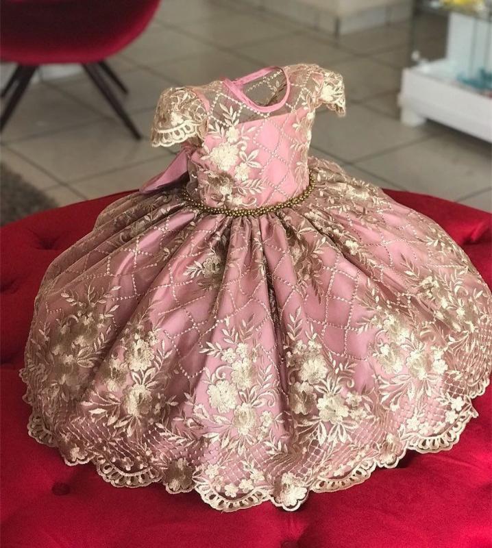 Mädchen Kleid Weihnachten Festkleid Rosa Perlen Tüllkleid