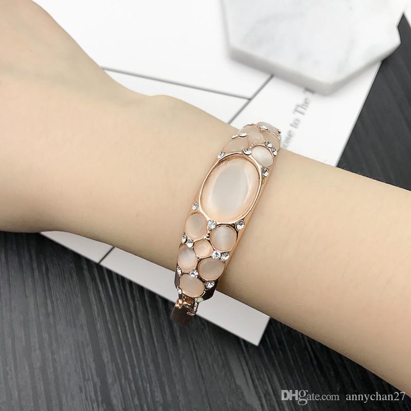 Charm Bangle Bracelet Rose Gold Silver Mix Different Styles Wholesale Cat Eye Gem Rhinestone Jewelry Korean Fashion Quality Bracelet DHL