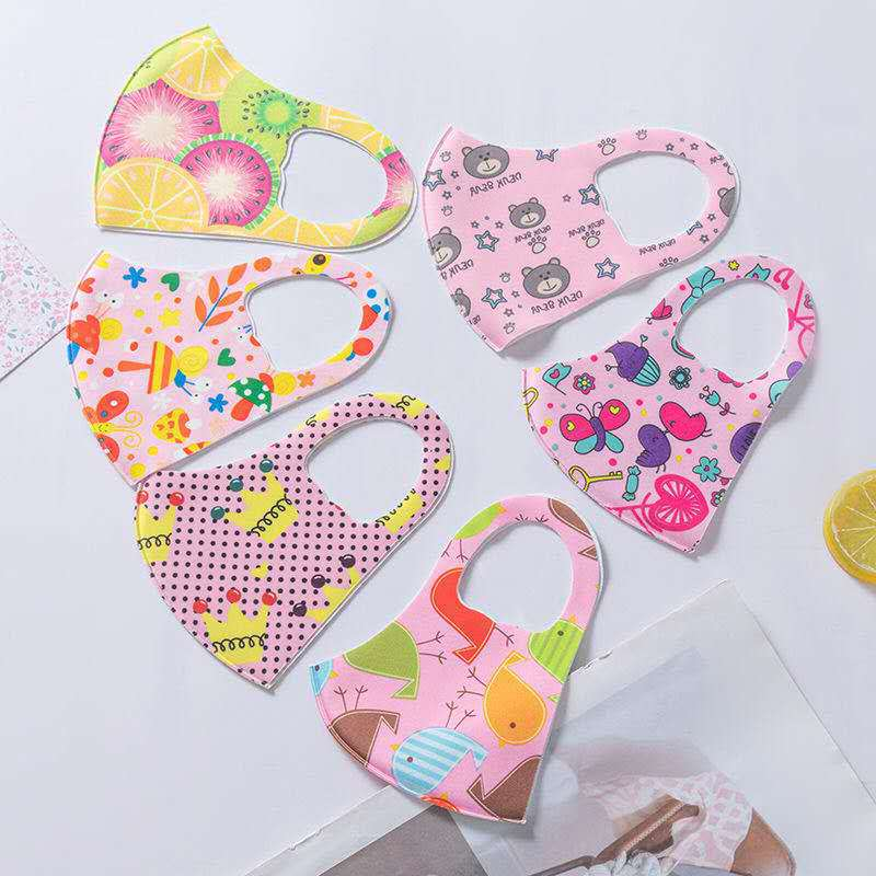 Stretch Mask Kids Face Mask Cloth Cartoon Character Face Cover Nose Face Mouth Protection Washable Reusable Mask