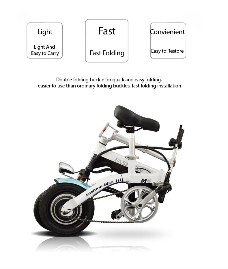 New Electric Bike 36V Two Wheels Electric Bicycle FrontRear Brake System WhiteBlueBlack Adult Folding Electric Scooter (13)