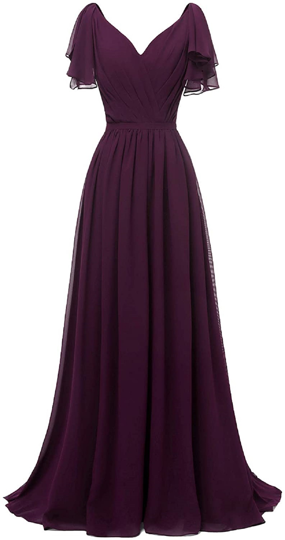 Chiffon Ruffle Sleeve Bridesmaid Dress for Women V Neck Long Wedding Guest Gown Evening Dress Prom Gown Elegant Special Occasion Dress