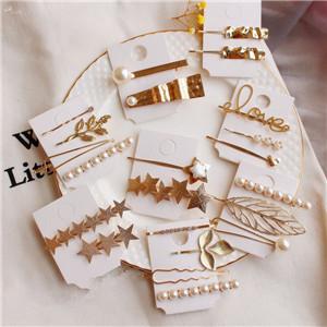 AOMU-1SET-Korea-Geometric-Metal-Hairpins-Imitiation-Pearl-Star-Leaf-Shape-Hair-Clips-Hair-Accessories-for