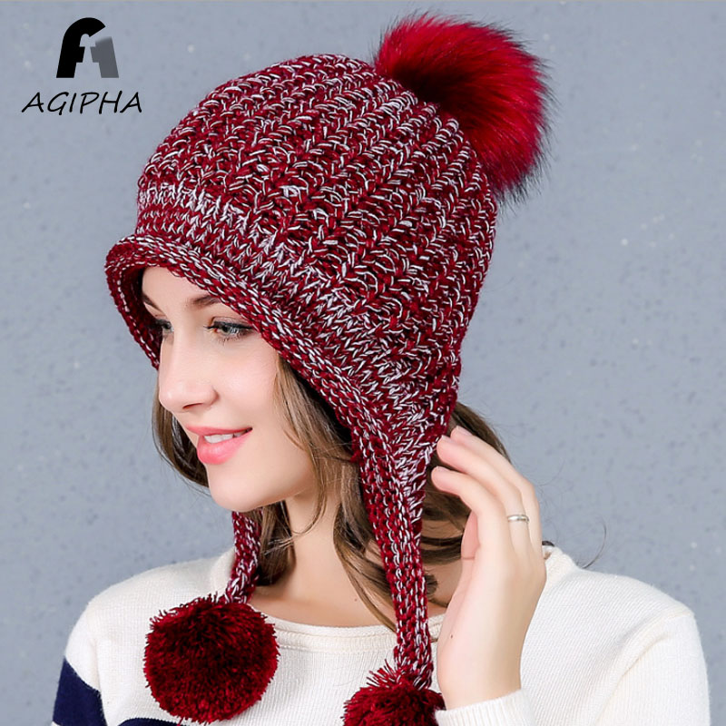Highlander Women Outdoor Winter Knit Pom Pom Hats With Ears And Braids