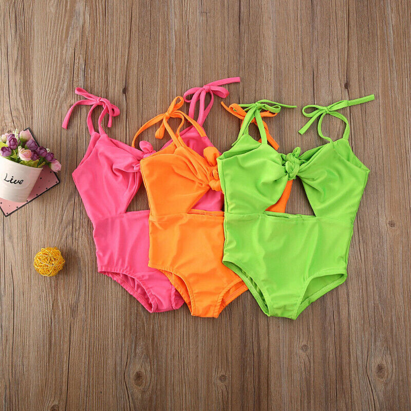 Toddler Baby Girl Swimsuit Leopard Print Bikini Set Ruffle Halter Bowknot Swimwear 2Pcs Bathing Suit Beachwear